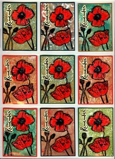 Poppies for Rememberence - ATC's by Helen Conolly using Darkroom Door Poppies Rubber Stamp Set.