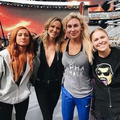 Becky Lynch, Stacy Keibler, Charlotte Flair and Ronda Rousey Becky Lynch, Ronda Rousey Wwe, Becky Wwe, Wwe Raw And Smackdown, Charlotte Flair Wwe, Stacy Keibler, Wwe Girls, Wwe Female Wrestlers, Raw Women's Champion