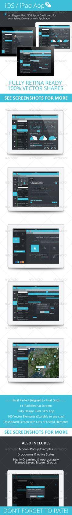 Flat iPad - iOS - Tablet App & Dashboard