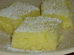 Two ingredient Lemon Bars.   1 box angel food cake mix  1 can lemon pie filling. Mix dry cake mix and cans of pie filling together in large bowl. Mix. Pour into greased baking pan. Bake at 350 degrees for 25 minutes or until top is starting to brown.