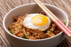 Kimichi fried rice with fried egg. From Herbivoracious!
