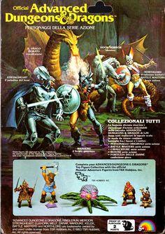 "bulletride-actionwear: ""80s AD&D Monster Adventure Figures - italian backcard; art by Earl Norem "" Il paladino del bene contro il feroce guerriero"