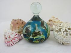 Large paperweight with knop. The main body incorporates complex blue, brown, white and yellow layers of glass Life Paint, Military Pictures, Glass Paperweights, My Glass, Paper Weights, Pottery Art, Blue Brown, Vases, Perfume Bottles