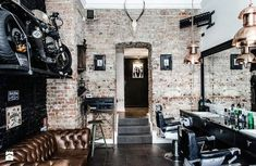 Awesome Barber Shop Design Ideas Barber Shop Brick Wall Design Ideas Design Ideas for Your Home Decorating and Home Remodeling of The Years Design Shop, Shop Front Design, Salon Design, Shop Interior Design, Home Design, Interior Decorating, Design Design, Barber Shop Interior, Barber Shop Decor