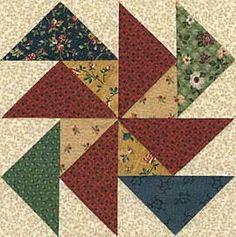 flying geese.  put medium value print in one corner, creates pinwheel.  Flying Dutchman block