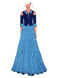 A Contemporary Skirt Suit With Midnight Blue Cold Diy Fashion Dresses, All Fashion, Western Dresses For Women, Western Outfits, Fashion Illustration Dresses, Fashion Illustrations, Fashion Design Drawings, Fashion Sketches, Long Skirt And Top