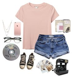 """Summer night"" by yeseniahdz ❤ liked on Polyvore featuring Monki, Abercrombie & Fitch, Converse, Chronicle Books, Athra Luxe and Impossible Project"