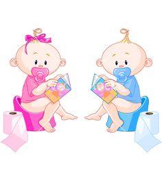 Babies potty training vector