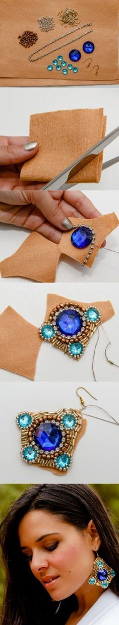 DIY Embellished Earrings: Embroidered on felt with beads - Free tutorial in Spanish - but good pictures and translation… Wire Jewelry, Jewelry Crafts, Beaded Jewelry, Handmade Jewelry, Jewellery, Jewelry Ideas, Jewelry Accessories, Jewelry Design, Diy Accessoires
