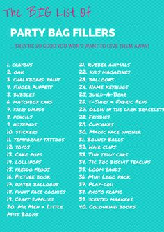 The Big List of Party Bag Fillers Invitations, check. Decorations, check. Venue, check. Cake, check. Party games, check. Party bags…. Argh!!! Help!!! Why is it that it's so hard to think of party bag fillers that kids will love – and that aren't going to break the bank! #partybag #partybagfillers #partyideas #birthday #lootbags