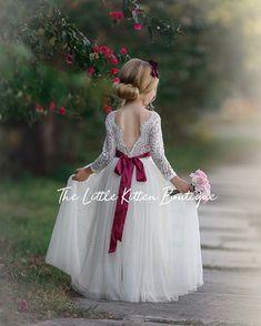 Winter Flower Girl, Wedding Flower Girl Dresses, Flower Girl Dresses Burgundy, Blush Flower Girl Dresses, Flower Girl Gown, Rustic Flower Girls, Lace Flower Girls, Bohemian Flower Girl Dress, Boho Dress