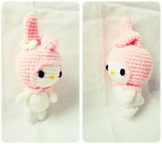 Make your own My Melody Amigurumi Materials § 2.30 mm. crochet hook § Yarn in white , pink , black and yellow colors § Sewing needle § Polyester Technic § Sc = single crochet § Hdc = half double crochet § R = row Head with Pink yarn R1 : 6 sc in...