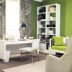 """Es un color que favorece la concentración y, por tanto, también la creatividad. La oficina pintada de este color, especialmente en la gama """"pistacho"""", resulta relajante y armoniosa."""