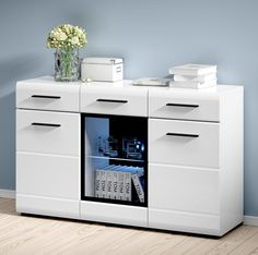 New Sideboard & Buffet HIGH GLOSS WHITE | Cupboard Living Room Furniture FEVER