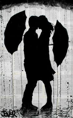 "Loui Jover; Ink 2013 Drawing ""umbrellas"""