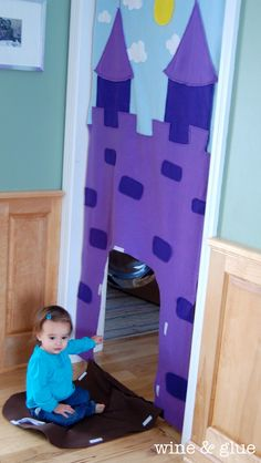 Doorway Castle by Wine & Glue - how fun! Projects For Kids, Diy For Kids, Gifts For Kids, Sewing Projects, Craft Projects, Homemade Toys, Homemade Gifts, Diy Toys, Toddler Activities