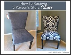 How to Recover a Parson's Style Chair {The Creativity Exchange} beautiful,but read about the hiccups before beginning!