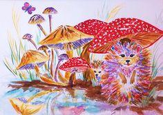 Title  Mushrooms And Hedgehogs   Artist  Ellen Levinson   Medium  Painting - Watercolor & Pen And Ink