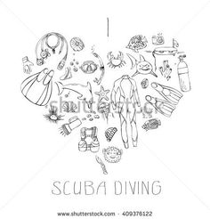 Hand drawn doodles of scuba diving equipment arranged in heart with message I love scuba diving.