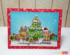 Hello everybody, Heidi here! Welcome to the Marker POP blog, today I'm sharing some Christmas cheer in a form of a card, using Lawn Fawn stamps, dies, and papers. Let me show you the card and I'll tell you a little bit more about it For this card I stamped the images on to Copic …