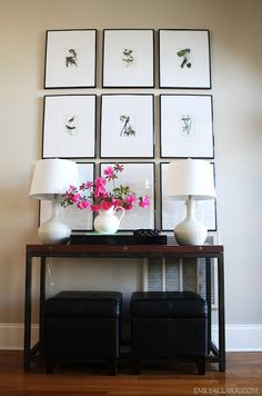 We love what Emily has done with her foyer. The lamps are HomeGoods finds and the flowers are from her garden!