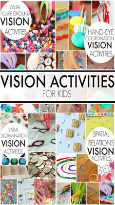 Visual perception activities for kids including visual motor, visual integration, visual spatial relations, figure ground, visual discrimination, and more.