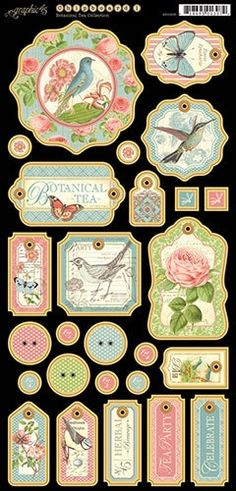 PREORDER Graphic 45 Botanical Tea Chipboard 1 by Lotsofbubbles4me, $5.00
