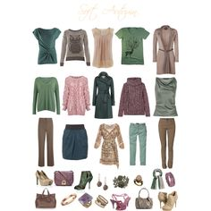 Soft autumn neutrals by sabira-amira, via Polyvore- love the green coat in the middle