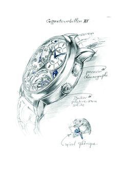 An early sketch provides a broad-brush view of the watch; a detail shows the spherical hairspring. Watch Sketches, Drawing Sketches, Sketching, Drawings, Watch Drawing, Make Time, Product Design, Clocks, Concept Art