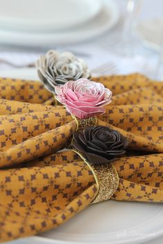 Paper Flower Napkin Rings - so simple and pretty