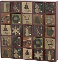 """Features:  -Made from wood.  -Individual box dimensions: 2.5"""" W x 2.5"""" L .  Product Type: -Advent Calendars.  Holiday Theme: -Yes.  Seasonal Theme: -Yes.  Holiday: -Christmas.  Season: -Winter. Dimens"""