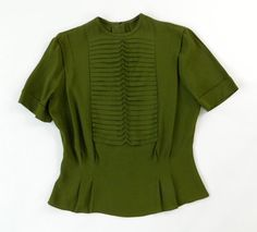 Vintage 1940s Blouse Avocado Green Short by WearitWellvintage, $64.00