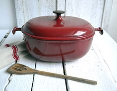 Large French Le Creuset Enzo Mari Cast Iron by shabbyfrenchvintage