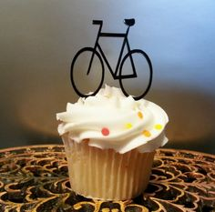 Bicycle Acrylic Birthday Cupcake Topper with by 1TheCherryOnTop