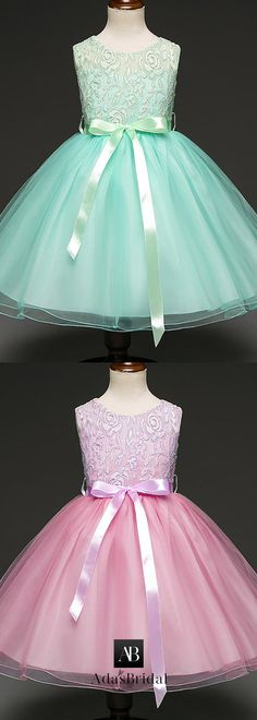 3d33e469f7a26 Excellent Lace & Tulle Scoop Neckline Ankle-length Ball Gown Flower Girl  Dresses With Bowknot