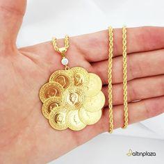 On Çeyrek Altınlı Halat Zincirli Kolye Gold Chain Design, Gold Chains, Jewels, Bride, My Style, Beautiful, Coins, Clothing, Necklaces