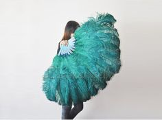 Burlesque costume Dance Teal 2layer Ostrich Feather by lawrencelv, $110.00 Large Feathers, Ostrich Feathers, Silver Choker, Crystal Choker, Samba Costume, Fans For Sale, Dress Up Boxes, Peacock Dress, Burlesque Costumes