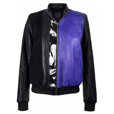 Vols & Original - Black & Purple Leather Bomber Jacket With Silver... ($885) ❤ liked on Polyvore featuring outerwear, jackets, bomber jackets, leather jackets, bomber style jacket, flight jacket and purple jacket