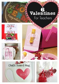 Six Easy Valentine Ideas for Teachers! www.skiptomylou.org #printablevalentines #teachervalentines #valentinesday