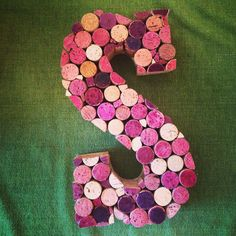 "Repurposed wine corks into an ""S"" for a wedding at a winery."