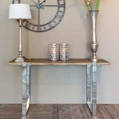 Ramp up the style factor of your hallway in an instant with a reclaimed wood console table [Maddox industrial reclaimed console table] Industrial Console Tables, Narrow Console Table, Wooden Console Table, Solid Wood Coffee Table, Rustic Coffee Tables, Round Coffee Table, Hallway Decorating, Hallway Ideas, Athens