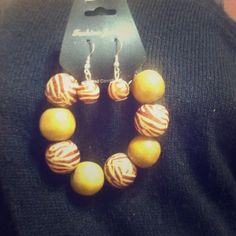 Bracelet and Earrings Set Wooden. Bracelet and Earrings Fashion Jewelry Set unknow  Jewelry Bracelets
