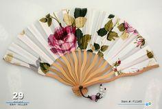 Pretty Travel Folding Fan Ladies Hand Fans Vintage Rose Silk Jade Pendant Beads