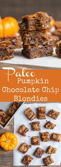 These gooey and dense blondies have a delicious pumpkin flavor with chocolate! This yummy fall treat is grain-free Paleo and Gluten-Free and so easy to make! Paleo Sweets, Paleo Dessert, Healthy Desserts, Healthy Treats, Diet Desserts, Holiday Desserts, Healthy Food, Dessert Recipes, Chocolate Chip Blondies