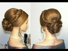 Wedding prom updo, hairstyles for long hair. Свадебная прическа, прическа на выпускной - YouTube