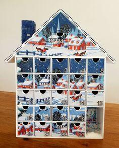 Snowy Village Advent Calendar  Decoupage  A gift by StardustKay