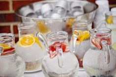 Infused waters are one of my favorite summer trends!! Make them in your wedding colors ! From Bridal Guide http://m.bridalguide.com/planning/wedding-reception/summer-wedding-ideas