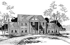 House Plans DB-2043,-120-1236 the Gainsborough with 3235 total living square feet.  The entrance begins with the beautiful curb appeal.  Upon entry, the grand staircase brings the eye upward to admire the two story ceiling.  The home also features a large open kitchen, and a comfortable family room with vaulted ceilings.  The upper floor is reserved for the bedrooms, allowing privacy and seclusion.  Has a laundry chute its perfect!!!