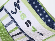 Baby Boy Blanket, Personalized Crib Quilt Blanket, Monogrammed Blanket, Navy Nursery, Navy Blue, Green and Gray - pinned by pin4etsy.com