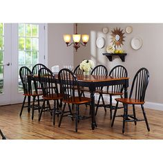 Better Homes and Gardens Autumn Lane 9-Piece Dining Set with Leaf, Black/Oak: Furniture : Walmart.com